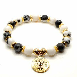 Tree of life Healing Zebra gemstone gold bracelet
